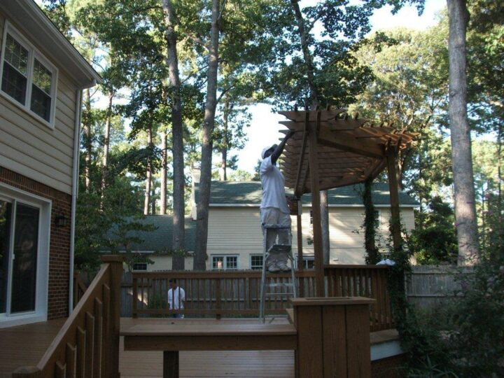 Close-up view of deck & stairs BEFORE Residential Exterior Painting