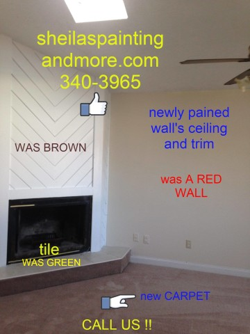 new paint  new carpet new tile at fireplace fireplace was brown..had a red wall.....